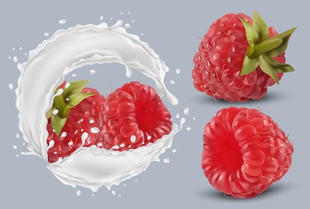 Framboesa 3d realista em respingos de leite. framboesa vermelha fresca. coquetel de leite. bagas orgânicas. ilustração em vetor. Vetor Premium