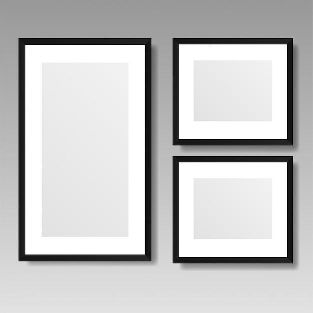 Frame de retrato realista isolado no fundo branco. Vetor Premium
