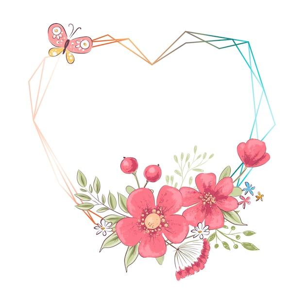 Frame do coração da aguarela com flores e copyspace. mão, desenho, ilustração Vetor Premium