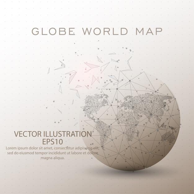 Frame do fio do baixo poli do globo do mapa do mundo. Vetor Premium