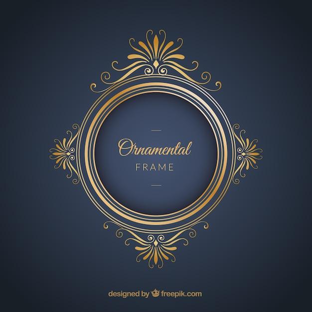 Frame luxuoso sobre um fundo azul Vetor grátis