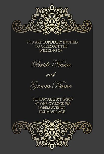 Frame ornamentado de corte a laser. modelo de cartão de convite de casamento. desenho de borda de folha de ouro. Vetor Premium