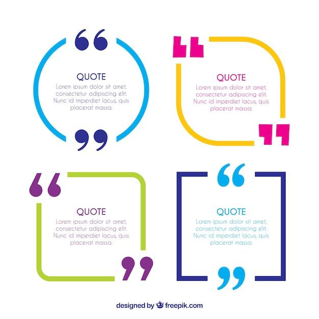 Frames coloridos citações entre aspas Vetor grátis