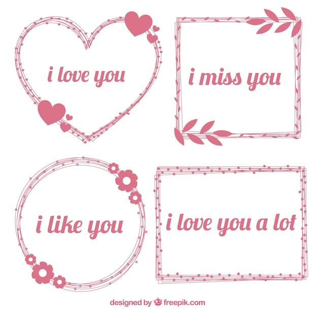 Frames desenhados mão com frases românticas Vetor grátis