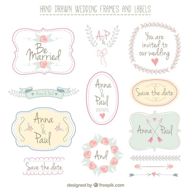 Frames desenhados mão do casamento e etiquetas Vetor Premium