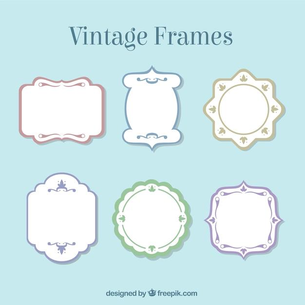 Frames do vintage com bordas coloridas baixar vetores gr tis - Marcos vintage para fotos ...