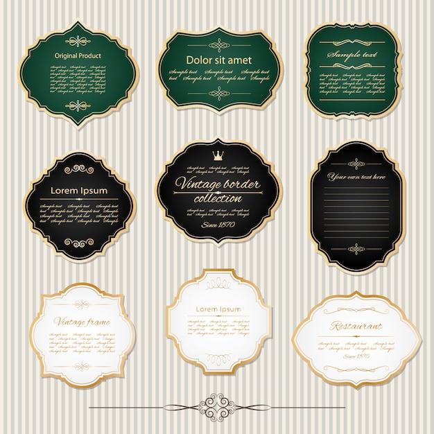 Frames dourados do vintage e jogo de etiqueta. Vetor Premium