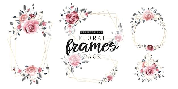 Frames dourados geométricos do vintage floral Vetor Premium