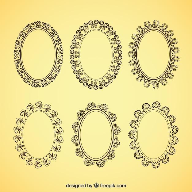 Frames ovais decorativos no estilo do vintage Vetor grátis