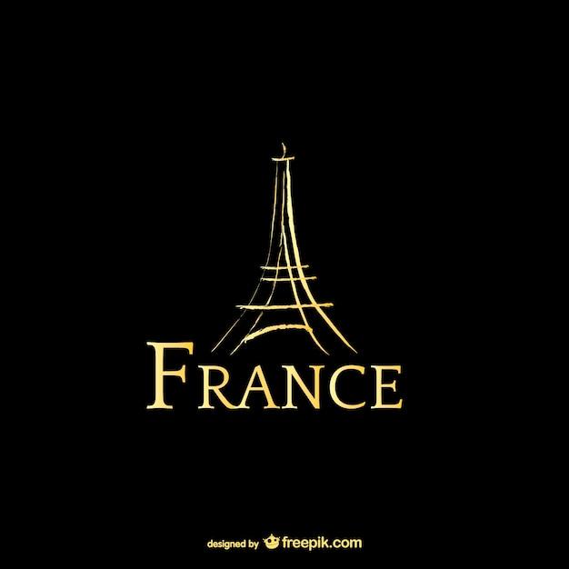 França e eiffel logotipo torre Vetor Premium