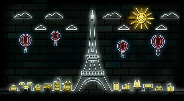 França e paris viagens e viagem de luz de néon fundo Vetor Premium