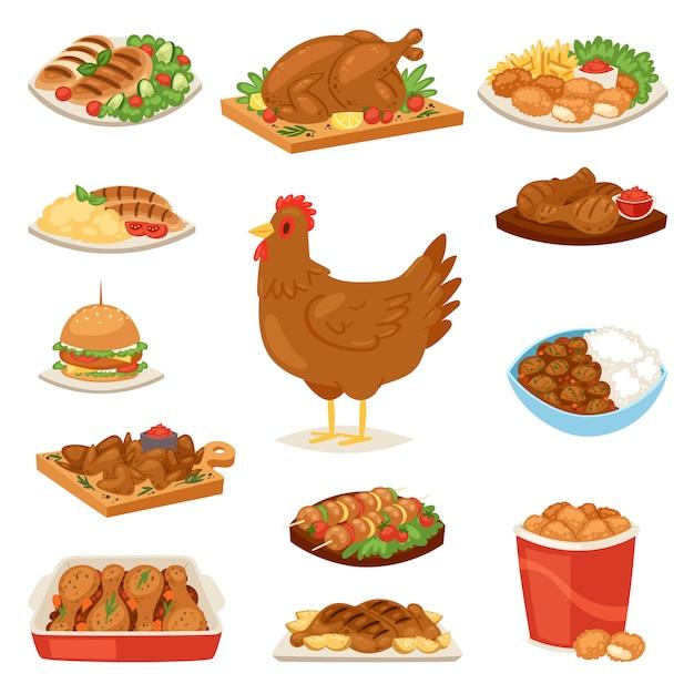 Frango dos desenhos animados garota personagem galinha e comida de asas de frango com legumes e salsicha de churrasco para jantar conjunto de ilustração de fastfood hambúrguer e batatas fritas no fundo branco Vetor Premium