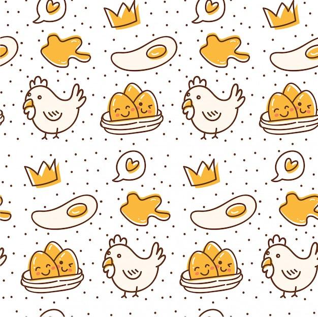 Frango e ovo sem costura padrão no estilo de doodle kawaii Vetor Premium