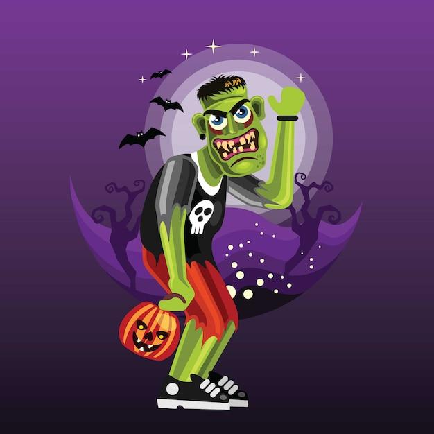 Frankenstein personagem de halloween Vetor Premium