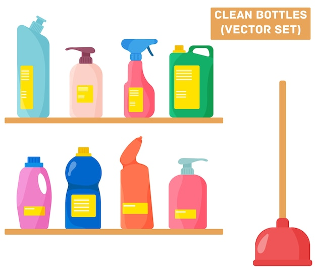 Frasco com detergente, spray purificador, ambientador e líquido de lavanderia. um grupo de garrafas de material de limpeza doméstico. ferramentas para limpeza doméstica em estilo simples. Vetor Premium