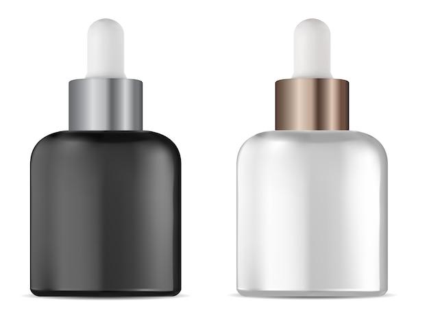 Frasco conta-gotas. frasco conta-gotas de soro cosmético. embalagem líquida de tratamento natural em branco, isolada no branco. Vetor Premium