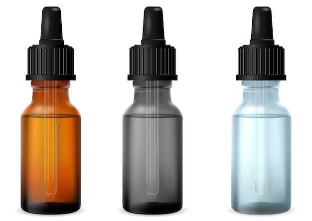 Frasco conta-gotas transparente frascos de vidro para gotas de óleo essencial para cosméticos maquete do frasco de vidro de soro com pipeta. frasco de colágeno de medicamento Vetor Premium