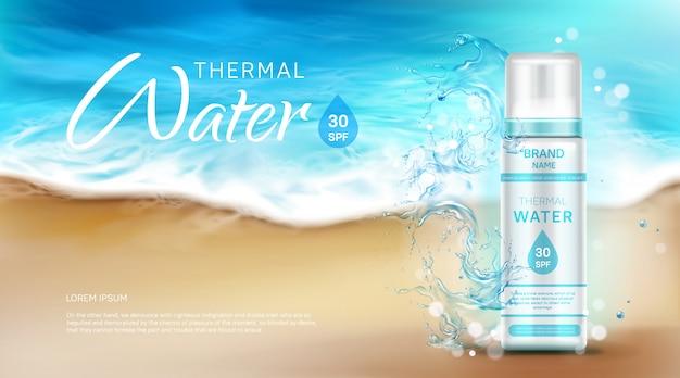 Frasco cosmético de água termal com banner de anúncio spf Vetor grátis
