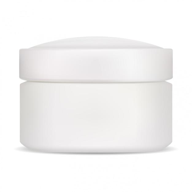 Frasco cosmético. embalagem de creme em branco isolada. maconha Vetor Premium
