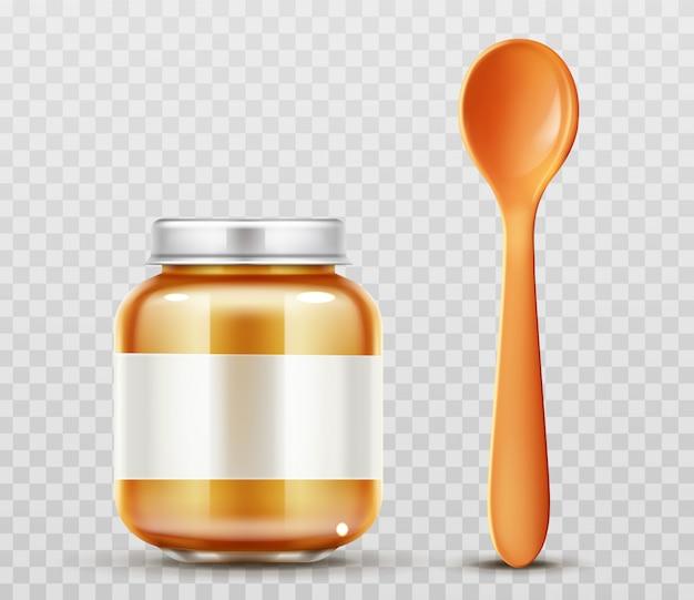Frasco de comida para bebé com copo de colher Vetor grátis