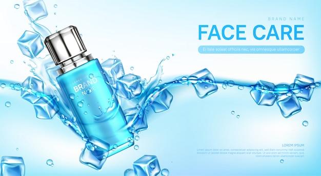 Frasco de cosméticos para cuidados com o rosto na água com cubos de gelo Vetor grátis