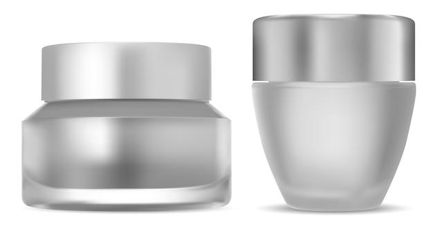 Frasco de creme cosmético. frasco de vidro com tampa. Vetor Premium