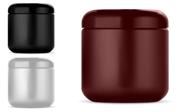 Frasco de creme cosmético maquete de recipiente de plástico redondo de beleza para creme ou loção, isolado no branco embalagem brilhante para maquiagem, manteiga facial conjunto de frasco de creme Vetor Premium