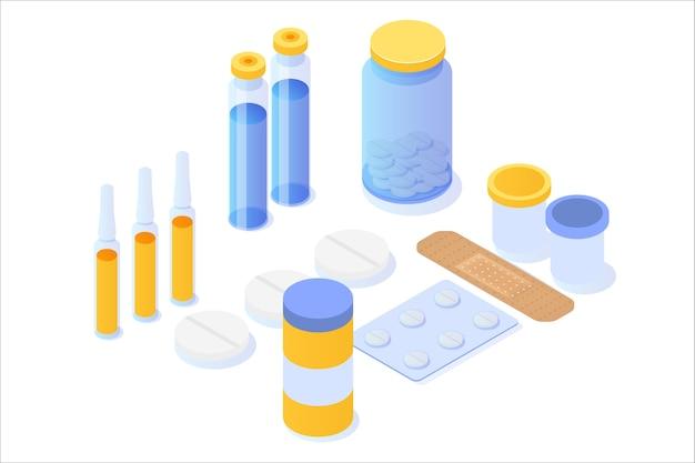 Frasco de medicamento, comprimidos, pílulas e ícone isométrico de pacote de bolha. Vetor Premium