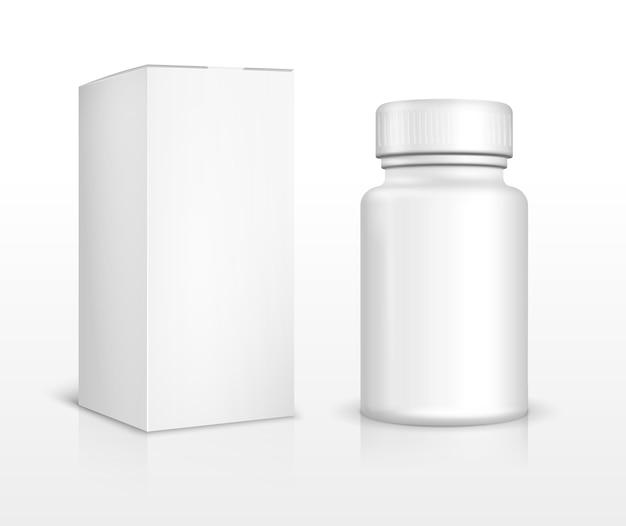 Frasco de medicamento em branco e caixa do pacote. pílula médica, farmácia de medicamentos, vitamina de medicamento, analgésico e droga. Vetor Premium