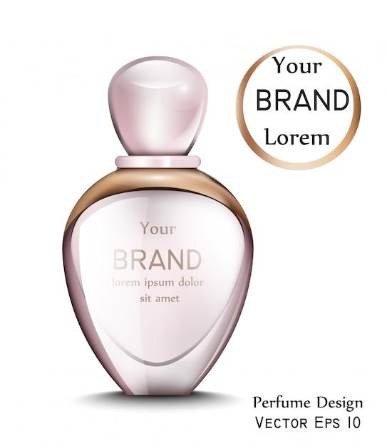 Frasco de perfume com moldura dourada Vetor Premium