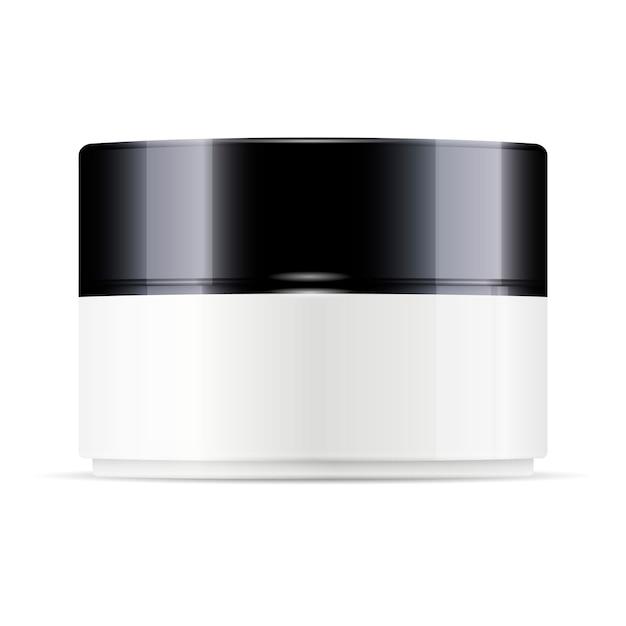 Frasco de plástico redondo branco com tampa preta brilhante Vetor Premium