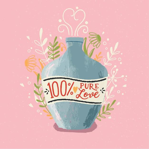 Frasco de poção do amor com letras de mão. mão colorida ilustrações desenhadas para feliz dia dos namorados. cartão com folhagem e elementos decorativos. Vetor Premium