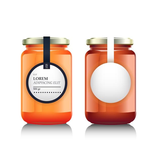Frasco de vidro com geléia ou mel e design de rótulo Vetor Premium