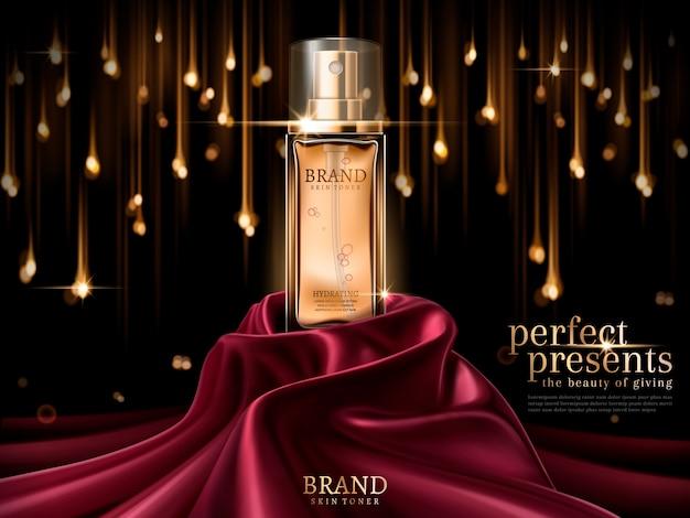Frasco de vidro de luxo ou perfume em cetim escarlate isolado no fundo da lâmpada de bokeh Vetor Premium