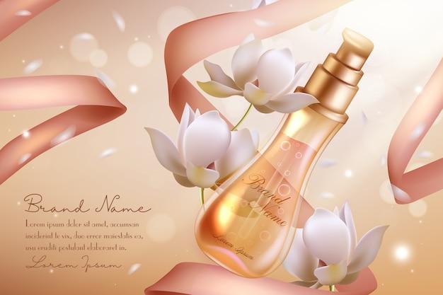 Frasco de vidro spray para cosméticos com perfume de flor de laranjeira Vetor Premium
