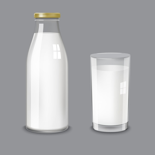Frasco de vidro transparente e um copo de leite Vetor Premium