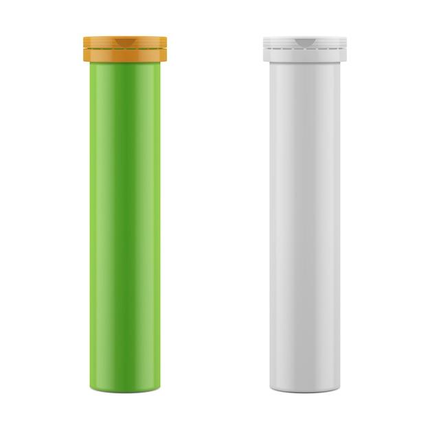 Frasco e tampa de plástico para comprimidos, pílulas, vitaminas Vetor Premium
