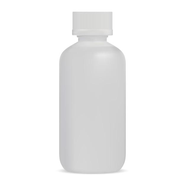 Frasco plástico branco de soro Vetor Premium