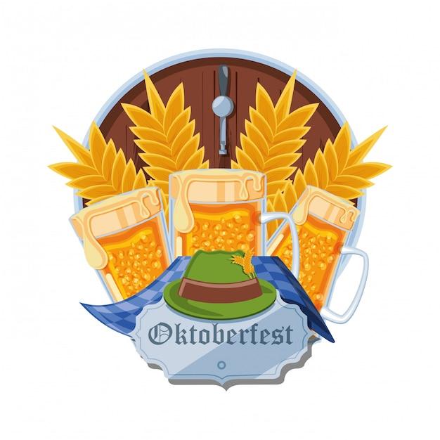 Frascos, cervejas, oktoberfest, celebração Vetor Premium