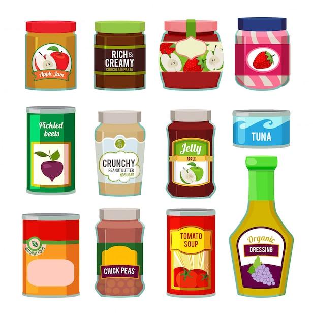 Frascos com frutas enlatadas e outros produtos diferentes. Vetor Premium