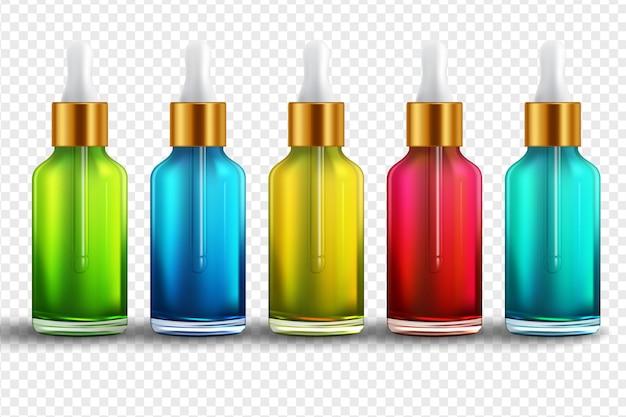 Frascos conjuntos realistas para óleos essenciais e cosméticos Vetor Premium