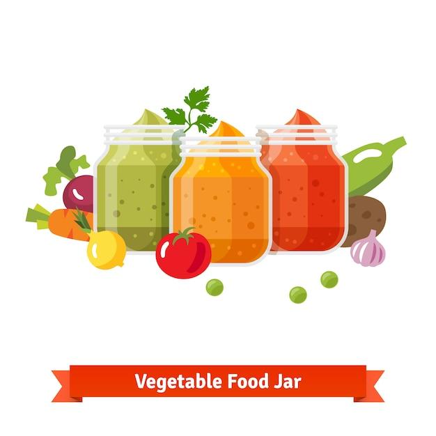 Frascos de alimentos vegetais. purê de bebê Vetor grátis
