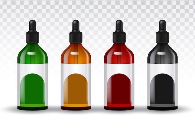 Frascos de conjuntos realistas de vetor para óleos essenciais e produtos cosméticos Vetor grátis
