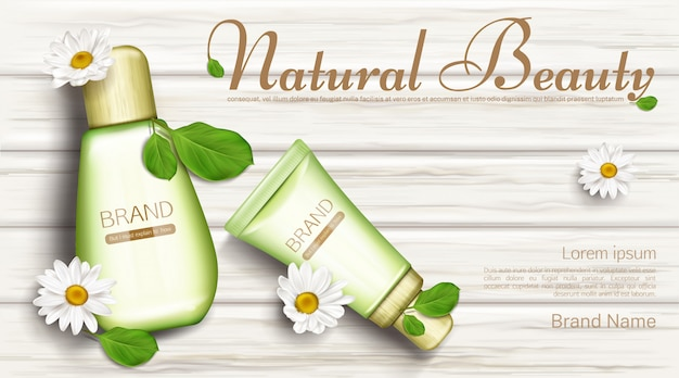 Frascos de cosméticos naturais com flores de camomila Vetor grátis