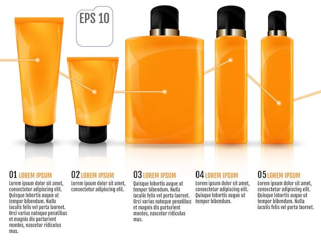 Frascos de cosméticos Vetor Premium