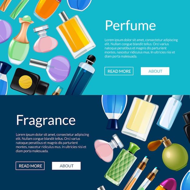 Frascos de perfume de vetor ilustração de modelos de banner da web Vetor Premium
