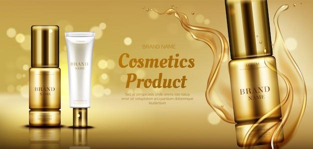 Frascos de produtos de beleza cosméticos com respingo de óleo Vetor grátis