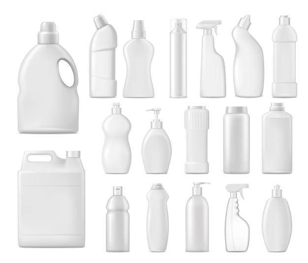 Frascos de produtos químicos domésticos, embalagens em branco de detergente Vetor Premium