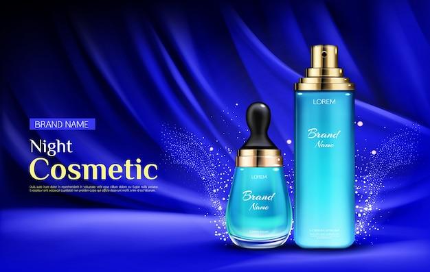 Frascos de soro de beleza cosmética noite com pipeta e bomba Vetor grátis