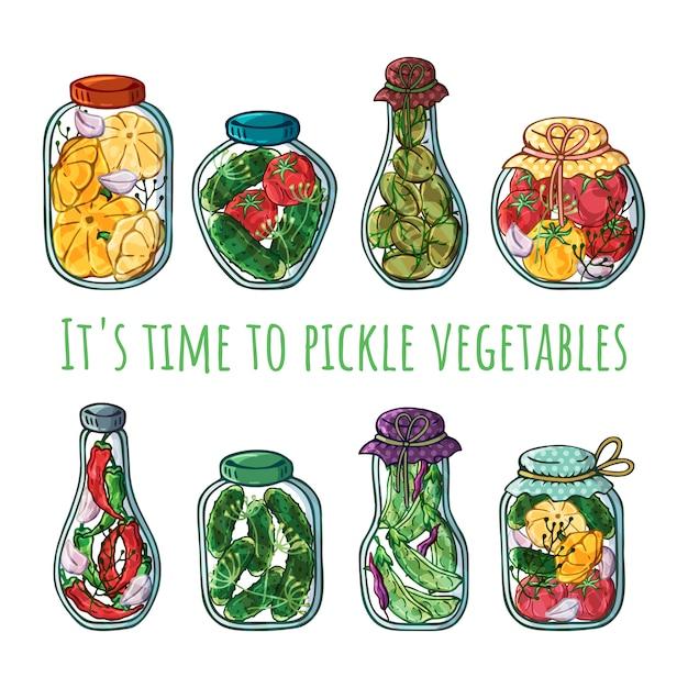Frascos de vetor de conservas de legumes. Vetor Premium